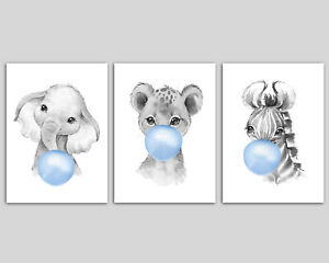 3 Black And White Safari Animals Blowing Blue Bubblegum Boys Nursery Art Prints