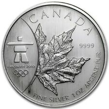 1oz Canada Silver Maple Leaf 999 coin - Winter Olympics (Inukshuk)- 2008