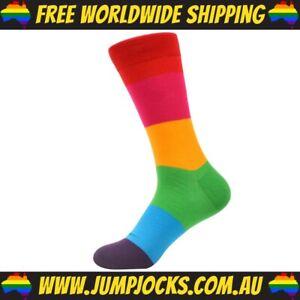 Rainbow Cotton Dress Socks - Unisex, Bright *FREE WORLDWIDE SHIPPING*