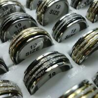 30pcs scrub&spin stainless steel rings wholesale jewelry mix lots  free shipping