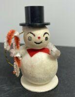 "vtg Spun Cotton Chenille Snowmen Christmas Ornament on cardboard 2"" black hat"