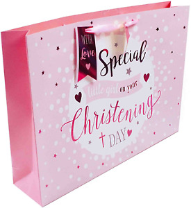 Christening Day Extra Large Wide Pink Gift Bag for Special Girl Luxury New Baby