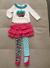 Girl Mud Pie Top Tutu Pants Pink Green  Ruffles Sz 2-3T Birthday Candle Outfit