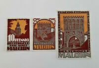 MALCHIN REUTERGELD NOTGELD 10, 25, 50 PFENNIG 1922 NOTGELDSCHEINE (11979)
