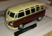 VW T1 Samba Bus - Burgundy/Cream, Metal Model.  Cararama  1/43 Scale Camper