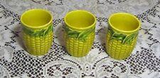 Set of 3 Rare Yellow Corn Cob Pottery Juice Glasses Japan
