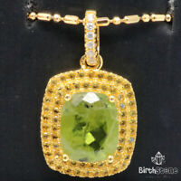 Authentic Green Peridot Pendant Necklace Women Jewelry 925 Sterling Silver