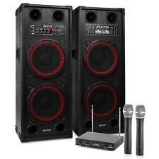 HIFI stereo Karaoke Anlage aktiv PA Lautsprecher USB SD Mp3 Player 2 Funk Mikro