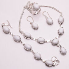 925 Sterling Silver Overlay Ring Earrings Bracelet Necklace Set, Gemstone PS117