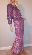 new ASOS SUPER HEAVY premium pink sequin ombre maxi prom dress gown us 4