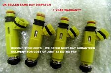 MAZDA RX8 MX5 YELLOW FUEL INJECTOR SET OF 4 DENSO # 195500-4450 1 YEAR WARRANTY