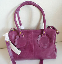 French Connection Candy Floss Bowler Satchel Very Berry Leather Detachable Strap