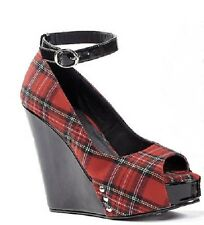 "Penthouse Red Plaid Wedge 4.5"" Heel Open Toe Buckle Strap US 6 ph475-rocky"