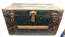 Antique Trunk / Chest - Black Metal Finish and Oak Accents Completely Original