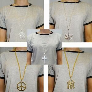 Silver Bling Medallion Necklace Chain Rapper Gangster Pimp Hippie Jewellery