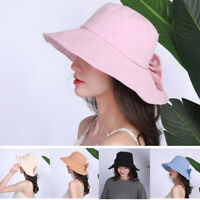 Women Bucket Hat Cotton Fishing Brim Visor Sun Summer Beach Camping Cap