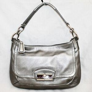 COACH Metallic Silver Leather Hobo B1273-19305