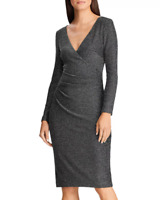 NWT!! Ralph Lauren Dress Size 2P Metallic Faux-Wrap Dress V-Neck