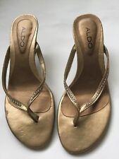 c2347546ce6 Aldo Rare Gold Studded Slip on Sandals Flip Flop Heels Womens 6