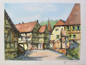 JEAN PIERRE LAURENT Bourg Alsacien Hand Signed L/E Lithograph FRANCE French Art