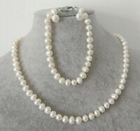 kultiviert 6-7mm weißen Süßwasser-Zuchtperlen Ohrringe Halskette Armband