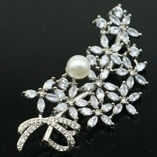 Charming Long Big White Sapphire White Pearl Fashion Jewelry Silver Brooch