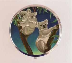 Koala Bear Pill Box Pillbox Case Australia Animal Pop Art Stash Box