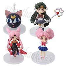 4x Pretty Sailor Moon Sailor Pluto/Chibi/Luna/Black Lady 4cm-7cm PVC Figure New