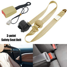 Universal Car Truck Seat Belt Lap 3 Point Safety Retractable  w/ Warning Cable