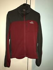 north face mens jacket size small in color burgundy and grey. Slightly used