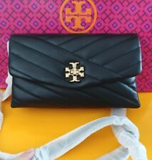 Tory Burch KIRA CHEVRON CHAIN WALLET Purse Clutch Crossbody Bag - BLACK