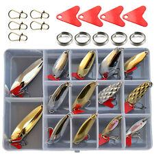 14PCS Fishing Fish  Lure Spoon red spoon slice box set