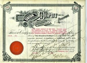 1894 UNION DEPOT STOCK CERTIFICATE (ISSUED) KANSAS CITY MISSOURI  TO AT&SF
