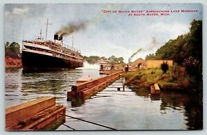South Haven Michigan~City Steamer Approaches Landing~Crowd Waits~c1910 VO Hammon
