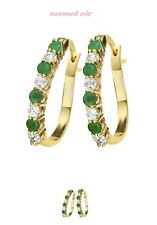 GOLD-PLATED EMERALD & CUBIC ZIRCONIA EARRINGS HOOP NEW IN