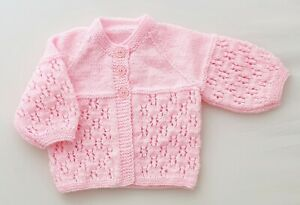 0-3m Baby Girls Hand Knitted 4ply Matinee Coat Pink Cardigan Spring Summer