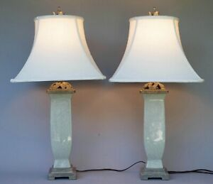 PAIR (2) LARGE CRACKLE GLAZE OVER PORCELAIN TABLE LAMP GREY GREEN