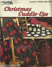 Christmas Cuddle Ups Crochet Patterns Afghans Throws Poinsettia LA1263 USED