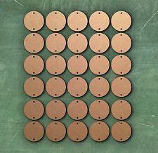 30 LASER CUT MDF in legno DISCHI CERCHI 8 cm con 2 fori 3mm CARD ABBELLIMENTO