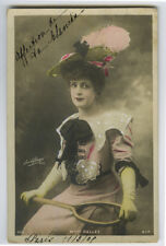 c 1904 Vintage Glamor PRETTY YOUNG LADY Tennis Racquet French photo postcard