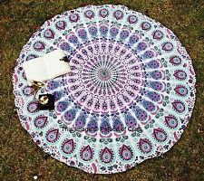 Indian Table Runner Cotton Mandala Round Blanket Beach Throw Yoga Mat Tapestry