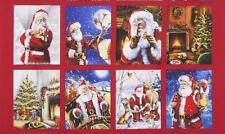 Jolly Saint Nick Holiday Santa Christmas Robert Kaufman Fabric Eight Block Panel