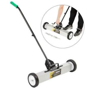 """24"""" Magnetic Sweeper / broom Lawn Yard Grass Floor Rolling Nail Pickup Wheeled"""
