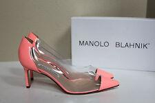 8 / 38 Manolo Blahnik BB Peach Patent Leather Pacha Clear PVC Patent Pump Shoe