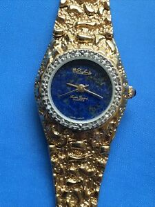 Dufonte Lucien Piccard Women's watch Gold / Blue dial New Battery Installed