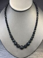 "Vintage 1950's Graduated  Faceted Black French Jet Beaded Necklace 18""  long"