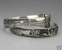 Rare 2 Tibet Silver Carved Dragon Men's Bracelet Bangle High Recommend