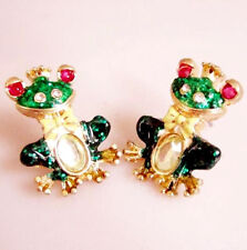 Bohemian Betsey Johnson GP Enameled Fanciful Frog Earrings w/Tags