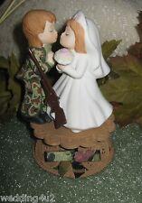 KISSING MILITARY WEDDING CAMO DEER HUNTER HUNTING CAKE TOPPER