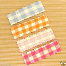 60 x Padded Gingham Hair Clip/Bow Cover Appliques ST267